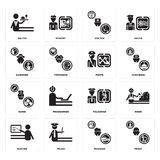 Set of Priest, Manager, Teacher, Policeman, Nurse, Pirate, Gardener, Doctor, Waiter icons. Set Of 16 simple  icons such as Priest, Manager, Police, Teacher Stock Photos