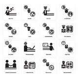 Set of Programmer, Mechanic, human resources, Teacher, Soldier, Hairdresser, Singer, Police, Waiter icons. Set Of 16 simple  icons such as Programmer, Mechanic Stock Image