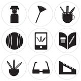 Set Of 9 simple  icons. Such as Protractor, Glasses, Pencils, Homework, Learning, Football, Pencil, Pom pom, Graduate, can be used for mobile, web UI Stock Photos