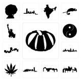 Set of pumpkin, pennsylvania state, utah, oklahoma, marijuana leaf, london skyline, montana, yin yang, statue liberty icons. Set Of 13 simple  icons such as Royalty Free Stock Photography