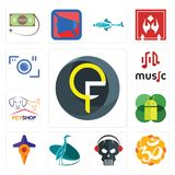 Set of qf, aum, skull with headphone, heron, travel, mobile os a, petshop, music, camera icons. Set Of 13 simple  icons such as qf, aum, skull with headphone Royalty Free Stock Image