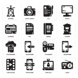 Set of Radio, Video call, player, Camcorder, File transfer, Agenda, Calendar, File, Antenna icons. Set Of 16 simple  icons such as Radio, Video call, Smartphone Royalty Free Stock Image