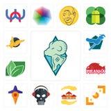 Set of rams, viewfinder, realtor, skull with headphone, travel, piranha, stevia, plumber, gryphon icons. Set Of 13 simple  icons such as rams, viewfinder Stock Images
