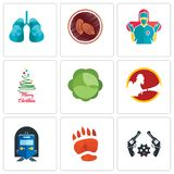 Set Of 9 simple  icons such as revolver, bear paw, train station. Cabbage, merry christmas, surgeon, cacao, lungs, can be used for mobile, web Stock Photos