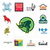 Set of rhino, courage, judicial, 50 years anniversary, unemployment, 100 year 70 years, camper, bull icons. Set Of 13 simple  icons such as rhino, courage Royalty Free Stock Photo