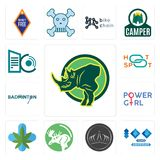 Set of rhino, 100 year anniversary, tiara, moose, medical marijuana, girl power, badminton, hotspot, datacenter icons. Set Of 13 simple  icons such as rhino, 100 Royalty Free Stock Photos