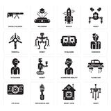 Set of Robot, Smart home, Eye scan, Augmented reality, Vr glasses, Windmill, Rocket, Google glasses icons. Set Of 16 simple  icons such as Robot, Smart home Stock Images