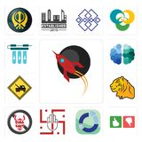 Set of rocket, good bad, sector, jain, no bullshit, tiger, towing, free brain, water filter icons. Set Of 13 simple  icons such as rocket, good bad, sector, jain Royalty Free Stock Photo
