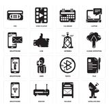 Set of Satellite dish, Mailbox, Smartphone, tooth, Antenna, Calendar, Vhs icons. Set Of 16 simple  icons such as Satellite dish, Mailbox, Router, Smartphone Royalty Free Stock Photography