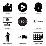 Set Of 9 simple  icons. Such as scratch card, commodities, scratching head, call now, 5g, intranet, curiosity, plug and play, cashback, can be used for mobile Royalty Free Stock Photos