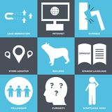 Set Of 9 simple  icons. Such as scratching head, curiosity, fellowship, spanish language, bulldog, store locator, durable, intranet, lead generation, can be Royalty Free Stock Images