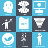 Set Of 9 simple  icons. Such as scratching head, lavender, vegan friendly, marketing funnel, bag of chips, lucky draw, intranet, clam, curiosity, can be used Royalty Free Stock Photo