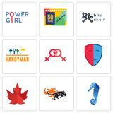 Set Of 9 simple  icons such as sea horse, black panthers, canada leaf. Drama, lesbian, handyman, bike chain, 50 years anniversary, girl power, can be used for Royalty Free Stock Photography