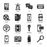 Set of Search, Pendrive, Smartphone, Microphone, Wifi, Film reel, Chat, Music player icons. Set Of 16 simple  icons such as Search, Pendrive, Calendar Royalty Free Stock Photos