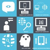 Set Of 9 simple  icons. Such as sending and receiving messages, brilliant mind, benefits of computer, search, opinion, benefits of computer, benefits of Stock Photography