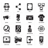Set of Server, Smartphone, Video player, News reporter, Phone call, Cassette, Protest, Tablet, Smartphone icons. Set Of 16 simple  icons such as Server Stock Photo