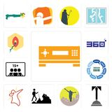 Set of set top box, concierge, hiker, dab, discussion board, number players, 360 degree, penetration icons. Set Of 13 simple  icons such as set top box Royalty Free Stock Photo
