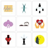Set Of 9 simple  icons such as shepherd, sprinkler, tracker. Car dealer, page turn, orchid, distributor, elastic, can be used for mobile, web Stock Images