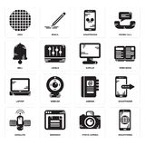 Set of Smartphone, Photo camera, Satellite, Agenda, Laptop, Display, Bell, Grid icons. Set Of 16 simple  icons such as Smartphone, Photo camera, Browser Stock Image