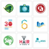 Set Of 9 simple  icons such as SOZ, hair studio, moose. Real state, hex, 30 anniversary, veterinary medicine, dslr, rhino, can be used for mobile, web Stock Photography