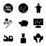 Set Of 9 simple  icons. Such as spartan helmet, veteran, tow truck, dashboard images, hedgehog, snooker, obesity, odor, gmo free, can be used for mobile, web UI Stock Photography