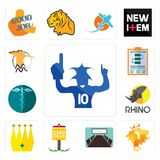 Set of sports fan, de, conference room, yard sale, crown, rhino, hipaa, action plan, hoopoe icons. Set Of 13 simple  icons such as sports fan, de, conference Royalty Free Stock Images
