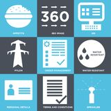 Set Of 9 simple  icons. Such as sprinkler, terms and conditions, personal details, water resistant, order management, pylon, on, 360 image, appetite, can be Stock Images
