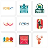 Set Of 9 simple  icons such as stag head, placeholder, 100 year. Horse, nerd, breast cancer, camper, educational institute, , can be used for mobile, web Royalty Free Stock Images