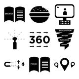 Set Of 9 simple  icons. Such as store locator, french language, lead generation, sales funnel, 360 image, sprinkler, video call, appetite, spanish language, can Stock Images