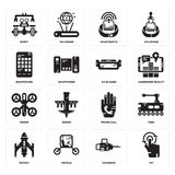 Set of Tap, Chainsaw, Rocket, Phone call, Drone, Ar glasses, Smartphone, Smartwatch, Robot icons. Set Of 16 simple  icons such as Tap, Chainsaw, Vehicle, Rocket Royalty Free Stock Photo