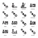Set of Taxi driver, Pilot, Scientist, Miner, Welder, Showman, Athlete, Businessman, Cashier icons. Set Of 16 simple  icons such as Taxi driver, Pilot, Gardener Stock Photos