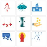 Set Of 9 simple  icons such as telecom, fire hydrant, discussion board. Customer experience, elastic, xxx, municipal, 360 degree, ganesh, can be used for Royalty Free Stock Photo