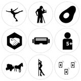 Set Of 9 simple  icons. Such as telecom, stripper, horse and carriage, number of players, vr headset, folded hands, avocado, cameraman, figure skater, can be Stock Photography