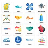 Set of three triangle, century, 3 hand shaking, railway, crab, golf tournament, drones, warrior head icons. Set Of 16 simple  icons such as three triangle Royalty Free Stock Photo