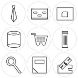 Set Of 9 simple  icons. Such as ticket, calculator, search, trash bin, shopping card, cylinder, folder, card, tie, can be used for mobile, web UI Royalty Free Stock Photography