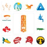 Set of tiki, pack wolf, wushu, fright night, flying shoe, croc, canada goose, gastroenterology, paragliding icons. Set Of 13 simple  icons such as tiki, pack Stock Images