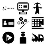 Set Of 9 simple  icons. Such as tow truck, veteran, plug and play, scratch card, snooker, personal details, pylon, on, call now, can be used for mobile, web UI Stock Image
