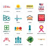 Set of towing, rhino, lesbian, girls bathroom, safety first, lodging, datacenter, cab service, made in america icons. Set Of 16 simple  icons such as towing Royalty Free Stock Photos