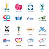 Set of track and field, bus company, house, mayan, panda mascot, church, gg, fishing store, first class icons. Set Of 16 simple  icons such as track and field Stock Photography