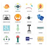 Set of tracker, grammar, shepherd, concierge, broken glass, order form, number players, cost uction, book now icons. Set Of 16 simple  icons such as tracker Royalty Free Stock Photos