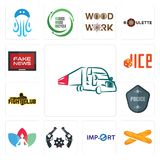 Set of truck company, baguette, import, revolver, chakra, police badge, fight club, dice, fake news icons. Set Of 13 simple  icons such as truck company Stock Photography