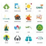 Set of truck company, lungs, trekking, lizard, firemen, fried chicken, billiards, solar system, recycle icons. Set Of 16 simple  icons such as truck company Royalty Free Stock Images