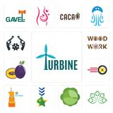 Set of turbine, holistic, cabbage, military, first birthday, tire business, plum, woodwork, revolver icons. Set Of 13 simple  icons such as turbine, holistic Royalty Free Stock Photos