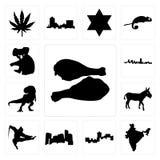 Set of turkey leg, india, montana, minnesota, ninja, donkey, t rex, maryland outline, in black, koala icons. Set Of 13 simple  icons such as turkey leg, india Royalty Free Stock Images