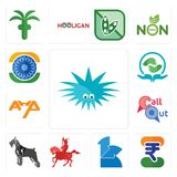 Set of urchin, indian rupee, 111, knight on horseback, schnauzer, callout, ahp, acupressure, ashok chakra icons. Set Of 13 simple  icons such as urchin, indian Stock Photos