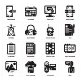 Set of User, Camcorder, Picture, Video player, Clipboard, Walkie talkie, Antenna, call, Smartphone icons. Set Of 16 simple  icons such as User, Camcorder, File Royalty Free Stock Image
