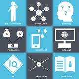 Set Of 9 simple  icons. Such as user guide, antioxidant, IQ, intranet, waterproof, fundraiser, curiosity, supply chain, scratching head, can be used for mobile Royalty Free Stock Image