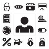 Set of User, Locked, Unlocked, Mute, Percent, Battery, Volume co. Set Of 13 simple icons such as User, Locked, Unlocked, Mute, Percent, Battery, Volume control vector illustration