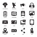 Set of User, Share, Location, Laptop, Cassette, Mailbox, Clipboard, Protest, Cloud computing icons. Set Of 16 simple  icons such as User, Share, Wifi, Location Stock Photo