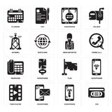 Set of Vhs, Smartphone, Video player, Flag, Telephone, News reporter, Antenna, Calendar icons. Set Of 16 simple  icons such as Vhs, Smartphone, Video player Stock Photography